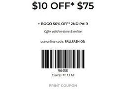 graphic regarding Rack Room Shoe Printable Coupons called $10 off your $75+ get at Rack Space Sneakers San Jose