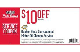 quaker state conventional motor oil change service  pep boys indianapolis coupons