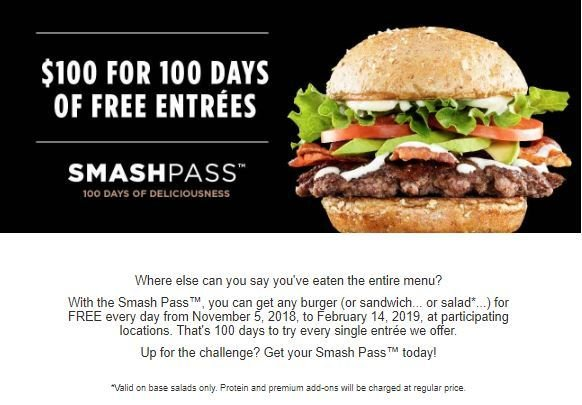 picture about Smashburger Printable Coupons identified as SmashP - $100 for 100 times of Free of charge entrees at SmashBurger