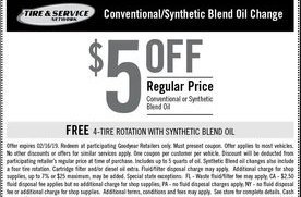 5 Off Full Synthetic Oil Change At Goodyear San Jose Coupons Daily Draws Coupons Contests And More Royaldraw Com