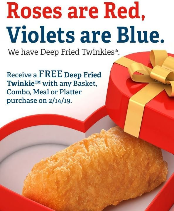 graphic regarding Long John Silver's Printable Coupons named Totally free Deep Fried Twinkie with any Basket, Combo, Supper or