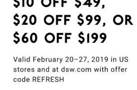 photo regarding Dsw 20 Off 49 Printable Coupon referred to as $10 in direction of $60 off on the web at DSW Sneakers San Jose Discount coupons