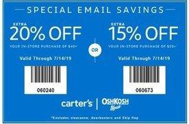 graphic regarding Oshkosh Printable Coupon called 15% in direction of 20% off at Carters/OshKosh BGosh San Jose Discount coupons