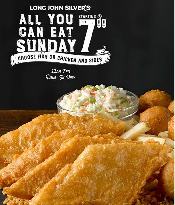 image about Long John Silvers Printable Coupons named All By yourself Can Try to eat Sunday for $7.99 at Extended John Silvers San