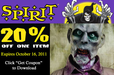 picture about Spirit Halloween Coupon Printable called Printable Coupon: 20% Off A person Solution At Spirit Halloween Retailer