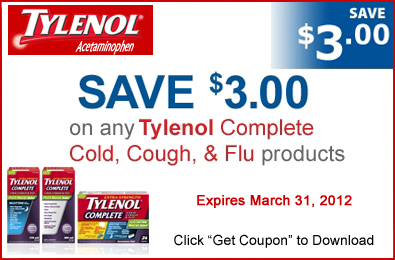 Printable Coupon 3 Off Tylenol Complete Cold Cough Flu