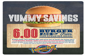 image about Fuddruckers Coupons Printable identified as $6 for a burger, fries and fountain consume at Fuddruckers