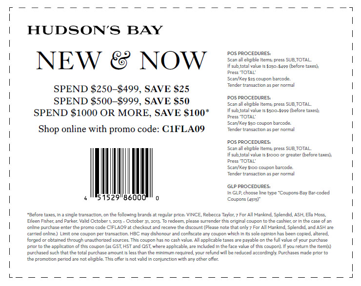 graphic regarding Yonkers Printable Coupons named Help save $25 in the direction of $100 inside-keep and on the net at Hudsons Bay San