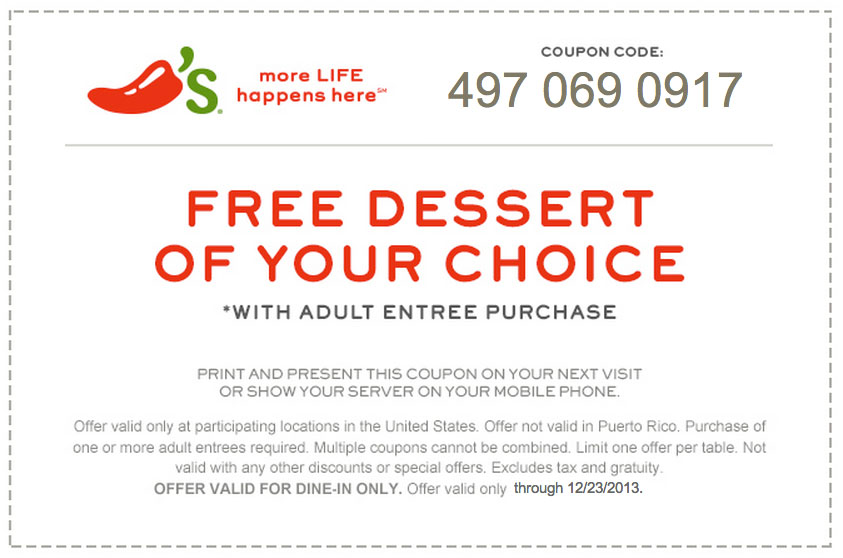 image relating to Chilis Printable Coupon titled Cost-free dessert with grownup entree acquire at Chilis San