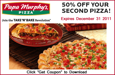 picture regarding Papa Murphy's Printable Coupon titled Printable Coupon: 50% Off Your Moment Pizza At Papa Murphys