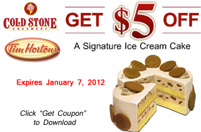 graphic regarding Cold Stone Printable Coupons identified as Printable Coupon: $5 Off a Chilly Stone Creamery Signature Ice