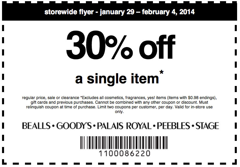 picture about Goody's Printable Coupons titled 30% off just one product at Bealls, Goodys, Palais Royal, Peebles