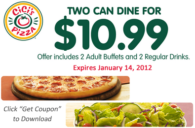 picture relating to Cici's Pizza Printable Coupons called Printable Coupon: 2 Can Dine for $10.99 at CiCis Pizza