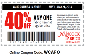 40% off any 1 fabric item at Hancock Fabrics | Los Angeles ...