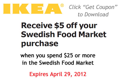 photo about Ikea Printable Coupon named Printable Coupon: $5 Off Your Swedish Food items Sector Acquire