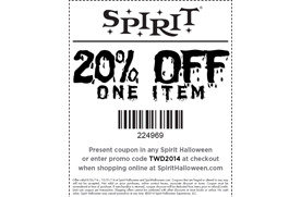 20 off one item in store and online at spirit halloween