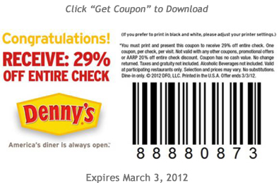 dennys printable coupons printable 29 your entire check at denny s 21346