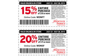 2 Hancock Fabrics coupons | Los Angeles Coupons | Daily ...