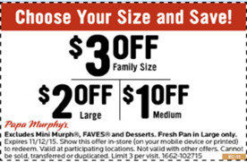 picture regarding Papa Murphy Coupon Printable known as $1 in the direction of $3 off at Papa Murphys San Jose Coupon codes Everyday