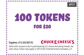 Chuck e cheese coupons 100 tokens for  2018