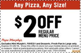 image regarding Papa Murphy Printable Coupon called $2 Off Any Month to month-Priced Pizza at Papa Murphys San Jose