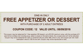 Free Appetizer Or Dessert With The Purchase Of 2 Adult Entrees At Olive Garden Los Angeles
