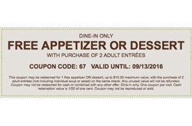 Free appetizer or dessert with the purchase of 2 adult - Olive garden westminster maryland ...