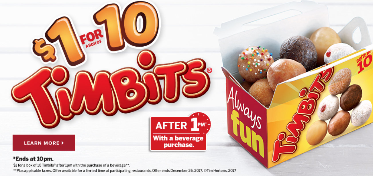 photograph relating to Tim Hortons Coupons Printable called $1 for 10 Timbits soon after 1pm with beverage invest in at Tim
