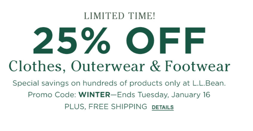 photo about Llbean Printable Coupons known as 25% off dresses, outerwear sneakers on the web and within just-retailers