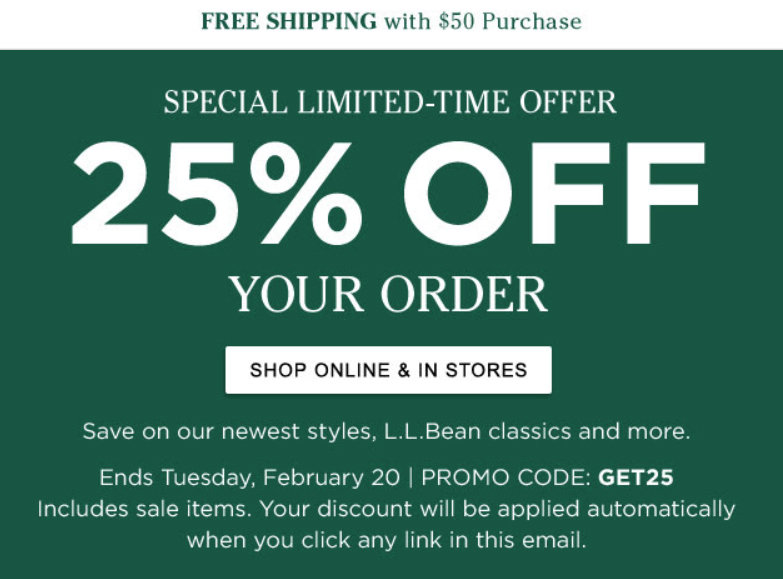 photo relating to Llbean Printable Coupon known as 25% off your acquire on the web and inside-shop at L.L. Bean San