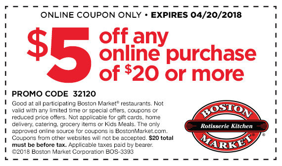 image regarding Printable Boston Market Coupons named $5 off any on the net obtain of $20 or further more at Boston Sector