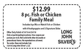 photograph regarding Long John Silvers Printable Coupons identified as $12.99 for an 8-personal computer. Fish or Chook Spouse and children Supper at Lengthy John