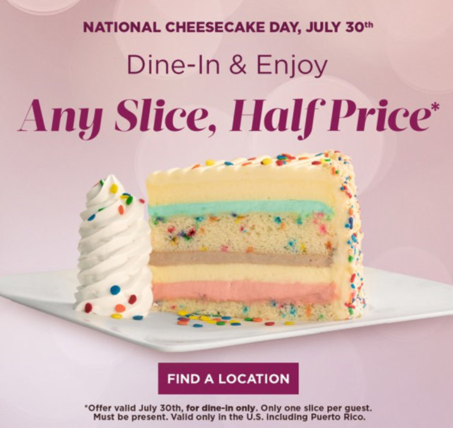 picture relating to Cheesecake Factory Coupons Printable known as Any Lower 50 percent Expense July 30th simply at The Cheesecake