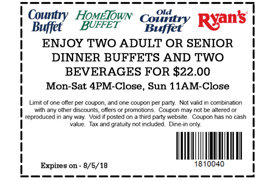 photograph relating to Hometown Buffet Coupons Printable titled 2 buffets and drinks for $22 at Place Buffet model