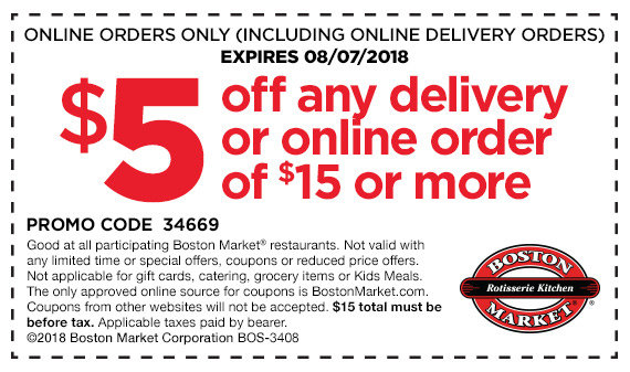 photo regarding Boston Market Printable Coupons named $5 off any transport buy of $15 or far more on the web at Boston