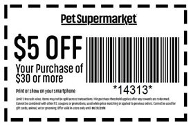 image relating to Pet Supermarket Printable Coupon identify $5 off a $30 invest in at Puppy Grocery store San Jose Discount codes