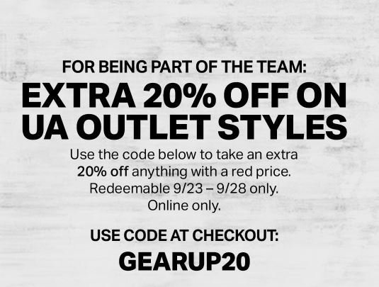 photo about Under Armour Printable Coupons named Further 20% off Below Armour Outlet Layouts San Jose Discount codes
