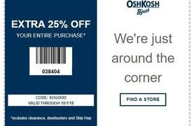 photograph about Oshkosh Printable Coupon called 25% off at OshKosh BGosh San Jose Coupon codes Day-to-day Attracts