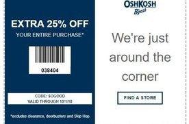 photo regarding Oshkosh Printable Coupon called 25% off at OshKosh BGosh San Jose Discount coupons Every day Attracts